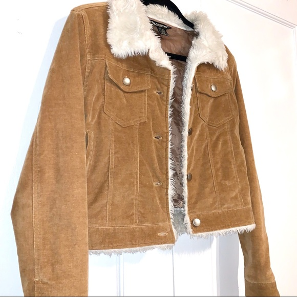 2000s Faux Shearling Corduroy Jacket Tan